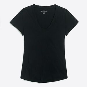 J Crew Twisted Trim Scoopenck T Shirt Black Small